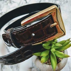 Vintage Croc Embossed Belt Brown